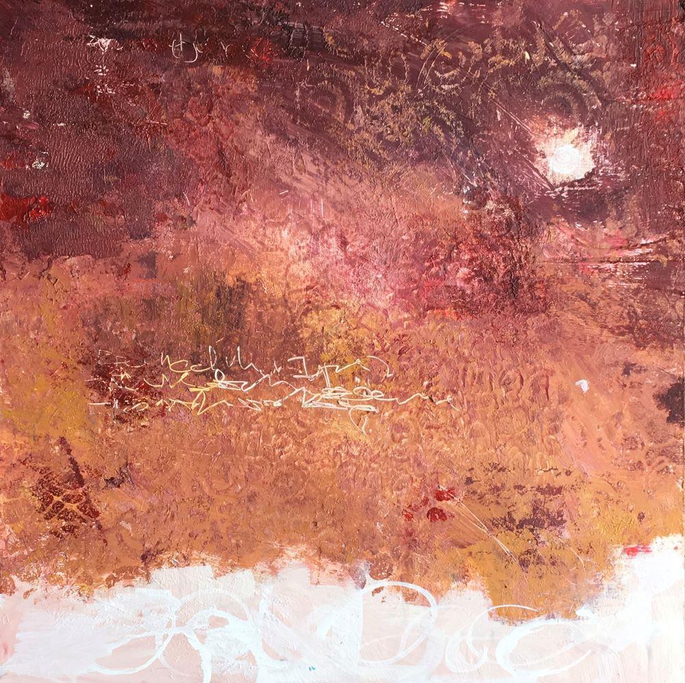Autumn Warmth 30x30 Acrylic on birch wood panel framed
