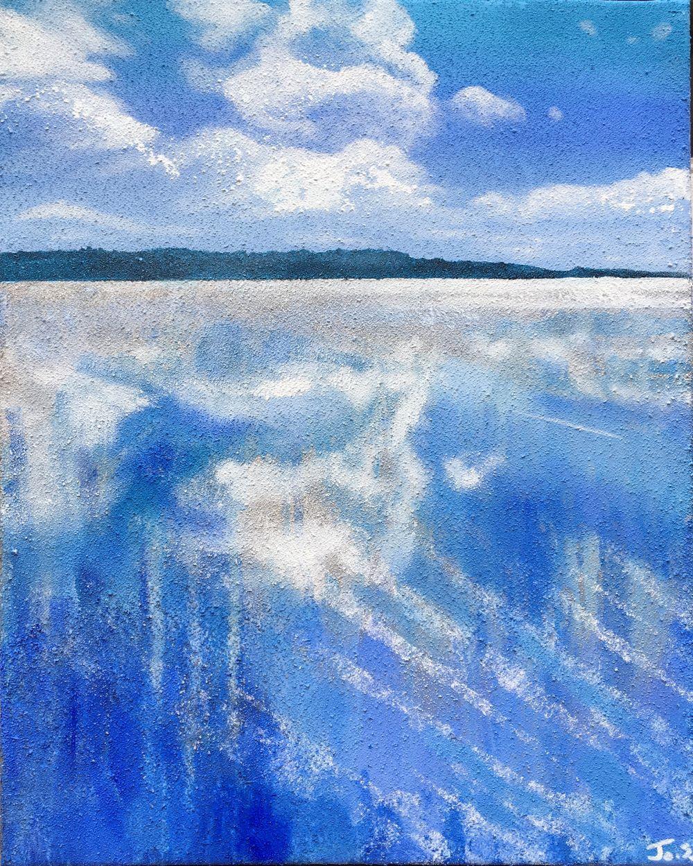 Blue Space 12 40x50 Acrylic and beach sand on canvas