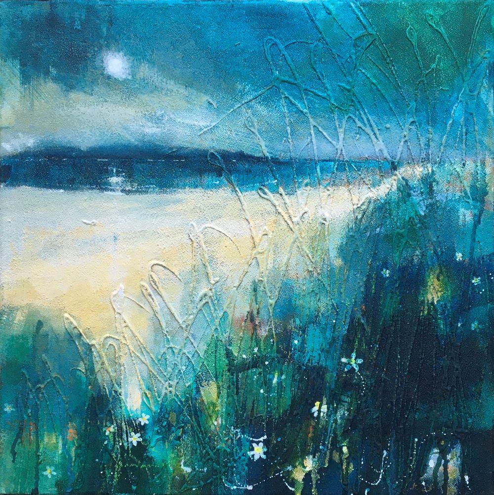 Dee Blues 40x40 Acrylic and beach sand on canvas