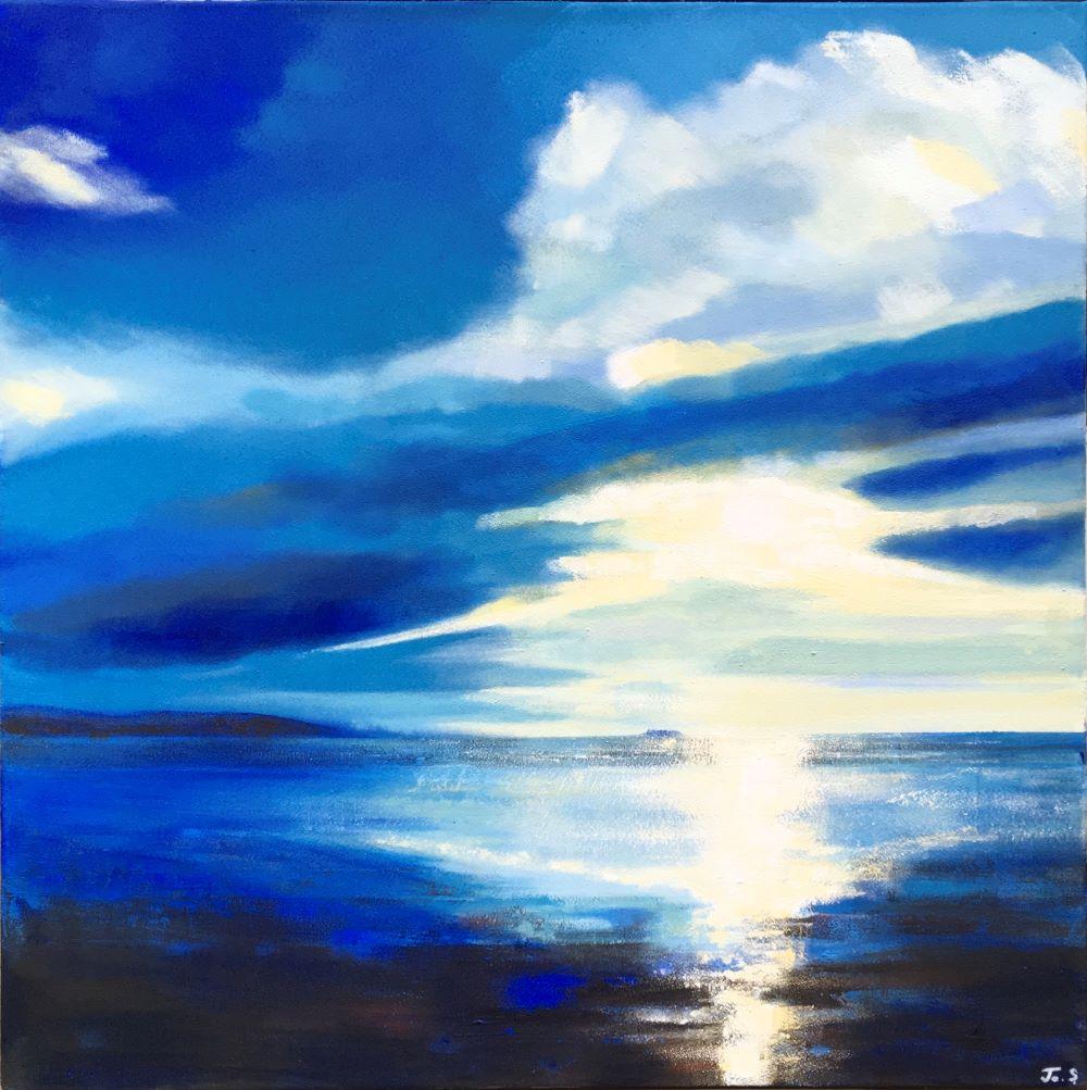 Light over Little Eye Acrylic and beach sand on canvas 70x70