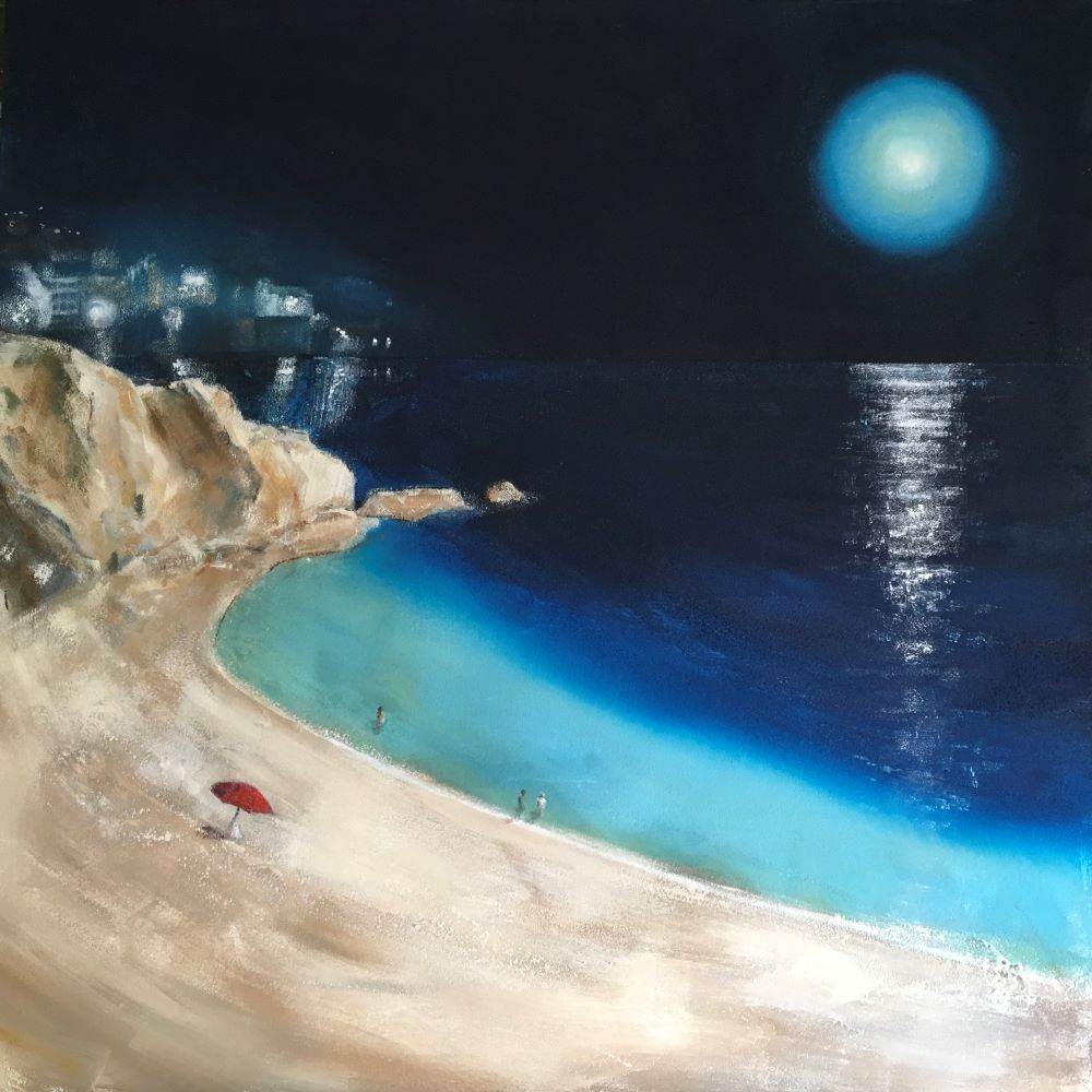 Night bathing Acrylic and sand