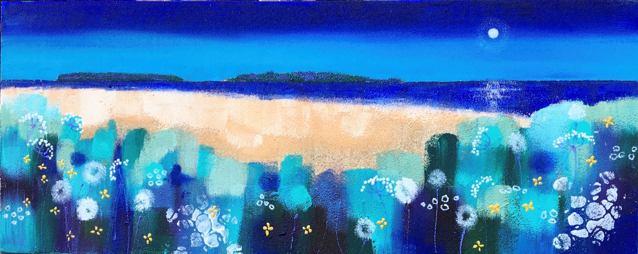 Night bloom 20x50 Acrylic and sand